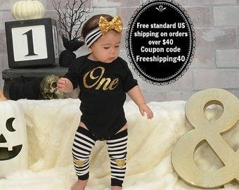 1st Birthday Girl Outfit, First Birthday Girl Clothing, Smash Cake Girl Outfit, Black Gold Headband Leg Warmers, Birthday Girl Clothing