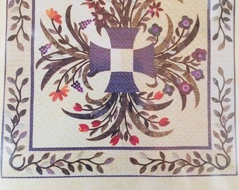 Flower Baskets Applique Quilt Pattern for Wall Hanging