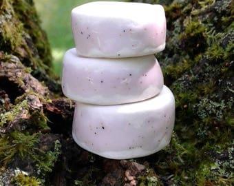 Set 3 Lilac Porcelain Macrame Beads Pink Large Hole Dread Dreadlock Clay Pottery Beads Fibre Project Supplies