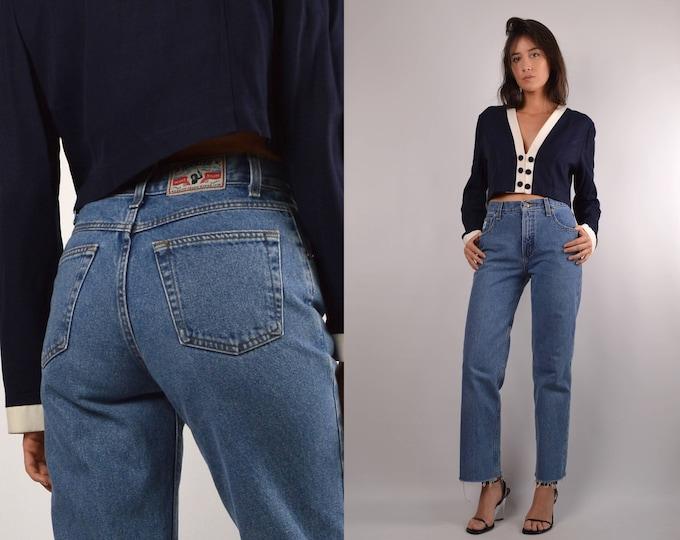 Vintage High Waist Frayed Hem Jeans
