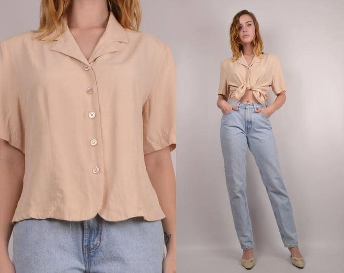 20% OFF  SALE Neutral Vintage Button Up Shirt minimalist