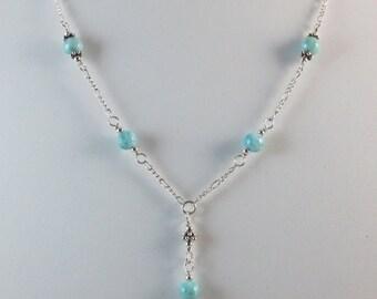Larimar Necklace - Blue Necklace - Y Necklace - Lariat Necklace - Bead Necklace - Beaded Necklace - Gemstone Necklace - Stone Necklace