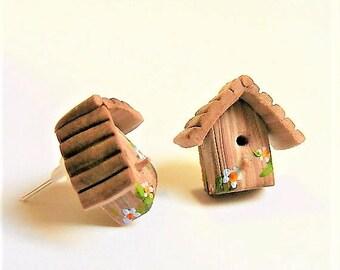 Bird House Earrings, Miniature Birdhouse Bird Earrings Miniature Food Jewellery, Mini Food Jewelry, polymer clay Kawaii Jewelry, Kitsch