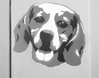"Beagle Portrait Spray Painting, 8""x10"" Canvas Panel"