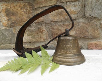 Brass Cow Bell with Leather Strap Chiantel Fondeur Saignelegier 1878 Solid Brass Swiss Cow Goat Bell Sleigh Bell Make Do Clapper Dinner Bell