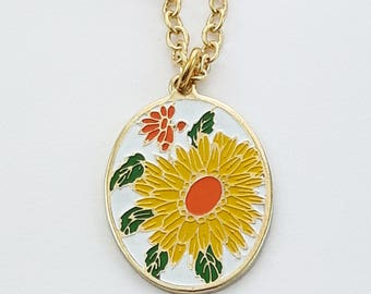 Vintage Yellow Daisy Necklace