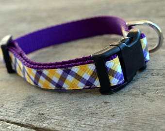 "LSU Plaid Dog Collar. 3/4"" wide, available in S, M, L"