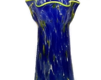 Vintage Cased Glass Vase, Spatter glassware, new home gift, Norcrest fine giftware, cobalt and yellow home decor, shelf display
