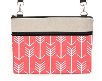 """Dell Laptop Bag, Tribal MacBook Pro 15"""" Totes, Surface Pro 4 Crossbody, Macbook 12"""" Shoulder Bag, Southwestern - coral red and white arrows"""