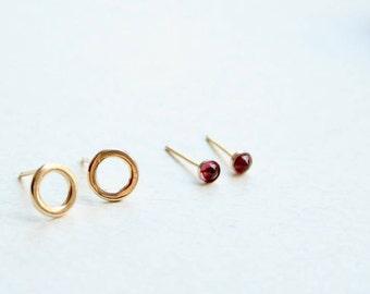 stud earrings set, earrings gift set, gemstone earrings set, earlobe circle stud earrings, gemstone stud earrings, gold circle stud earrings