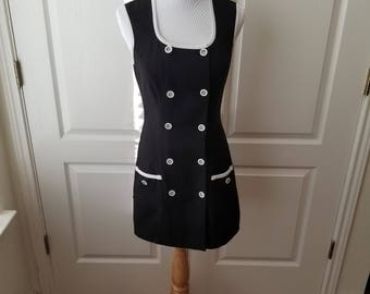 Black Vintage Mini Dress with Buttons and Pockets