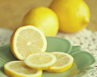 Fruit photograph, Lemon Photograph, Food Photograph, Kitchen Decor, Yellow, Citrus, Still Life Photo