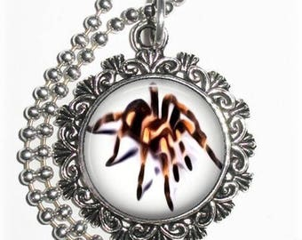 Tarantula Art Pendant, Black & Brown Spider Photo Painting Filigree Charm, Silver and Resin Necklace, YessiJewels Jewelry