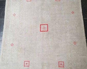 4 by 5 rug / Vintage Oushak Rug / Vintage Rug / Oushak Area Rug / Turkish Vintage Rug / Oushak Rug / Area Rug / Boho Rug / Low Pile Rug