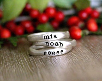 Stacking Name Rings, Sterling Silver Stackable Rings, Mother's Jewelry, Heart or Date Ring, Organic Sculpted Ring, Stackable Rings for Mom