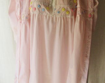 Lingerie vintage 1960s 2 pc. cotton nightgown with matching robe