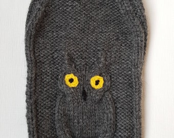 Grey dogs sweater with beautiful owl design-Chihuahua Sweater- Small Dog Clothing Size L -Size S