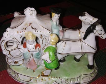 Porcelain Victorian Horse And Carriage Figurine Damsel and Footman   Made In Japan....Exquisite