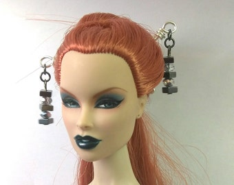Doll Hair Accessories Hematite and Crystal Hair Sticks for Fashion Royalty, Monster High, Barbie, Poppy Parker, etc