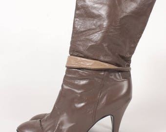 VINTAGE 80s Brown Taupe Fold Over Stiletto Go Go Boots sz 8.5 | Leather Fashion Runway Mid Calf Boots
