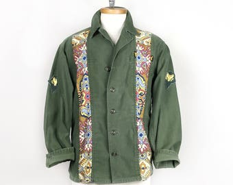 Army Jacket Vintage Military Style Hippie Tapestry Coat - Size Medium