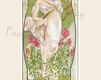 Pretty Art Nouveau Lady in Spring Garden with flowers, Instant DIGITAL Download, Printable Illustration