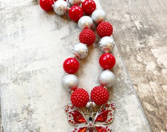 Red and White Butterfly Bubblegum Necklace, Butterfly Chunky Necklace, Butterfly Jewelry, Toddler Butterfly, Newborn, Photo Prop, Butterfly
