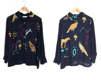 Nino Wong Vintage 80's Minimalist Blouse Button Up Blue with Birds Horses 90's Blouse Slouchy 80's Shirt 80s 90s Clothing Tribal Ethnic C1