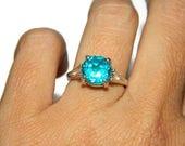 Paraiba Blue Ring, Blue Quartz Ring, Sterling Silver, 10mm Round Gemstone