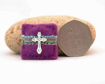 silver cross brooch, mini purple pin with cross, Easter cross badge, religious brooch, confirmation gift, holy communion gift, adult baptism
