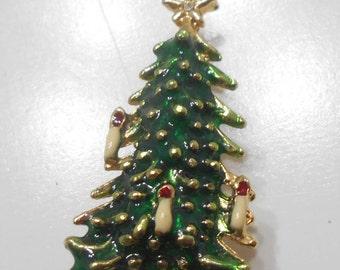 Vintage Christmas Tree Brooch (493) Three Candles Adorn The Tree