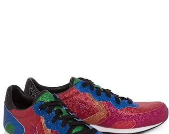 JW Anderson Converse Thunderbolt Red Custom Glitter Gutter Low  w/ Swarovski Crystal Rhinestone Chuck Taylor All Star Sneaker Trainer shoe