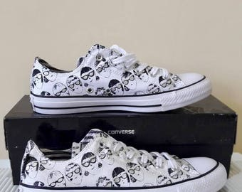 Converse White Black Silver Specs Gray Andy Warhol Collection Sunglasses Custom w/ Swarovski Crystal Chuck Taylor All Star Trainers Shoes