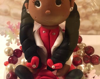 Polymer clay sculpture, sorority doll, handmade, sculpted by hand, cake topper,red and white, snow globe, detailed doll