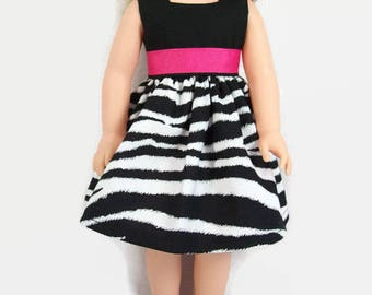 """Black and White Zebra-Print Dress with Pink Trim for 14.5"""" Dolls - Made to Fit Like Wellie Wisher Doll Clothes"""