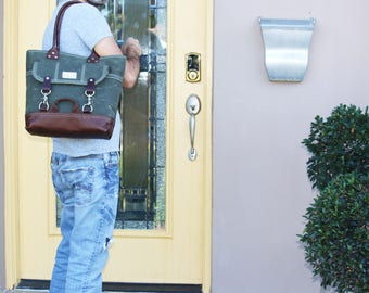heavy waxed canvas everyday tote - made in USA 010089