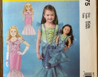 UNCUT Kid's, Girl's Mermaid Costume with Matching Doll Sewing Pattern McCall's 7175  Halloween, Costume, Princess, American Girl Costume