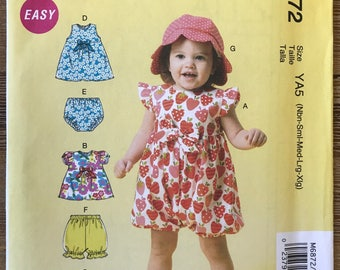 UNCUT McCall's 6872 Girls Toddler Baby Dress, Romper, Hat and Bloomers Sewing Pattern Size Newborn to XL