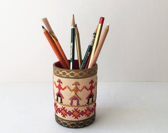 Embroidered Pencil Cup, Vintage Pen and Pencil Storage, Pencil Holder, Eastern European Embroidery, Folk Art Desk Accessories