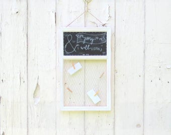 Prayer Board, Framed message Board, Bible Verse Board, Rustic Custom message organizer, Personalized Chalkboard, Family message center