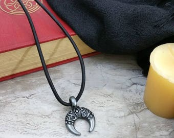 Double Horn Necklace, Moon Necklace, Layering Necklace, Pewter Crescent Moon Necklace, Upside Down Moon, Bohemian Jewelry, Boho
