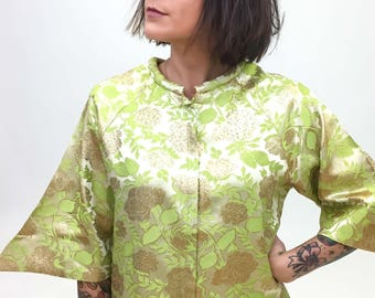 vintage metallic floral maxi dress | small | the Carly kimono dress