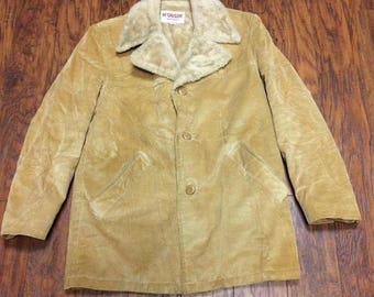 Vintage Mid Century 60s 70s McGregor Corduroy Faux Fur Lined Car Over Ranch Coat Winter Overcoat Mens 40