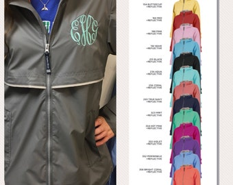 Monogrammed Rain Coat / Monogram Rain Jacket / Women's Personalized /Charles River / Full Zip New Englander Rain Coat / Gray /Grey