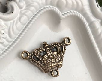 solid bronze crown connector rosary jewelry supply virgin mary ave maria royal vintage style