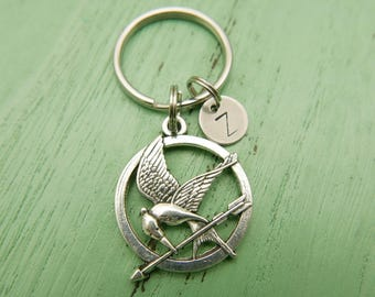 Hand Stamped Personalized Hunger game initial monogram stainless steel Keychain Keyring