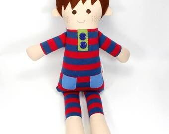 soft jersey doll | Gulliver boy snuggle doll | blue and red striped jersey cloth doll | boy rag doll | handmade doll | boy present