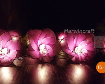 Battery or Plug 20 Purple Rain Lilly Nylon Flower Fairy String Lights Party Patio Wedding Garland Gift Home Living Bedroom Holiday Decor