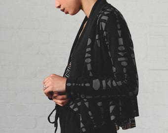 Cosy Cardigan - organic cotton and bamboo jersey with abstract print