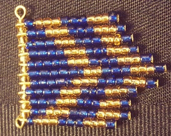 Blue and Gold Beaded Chevron Pendant Necklace